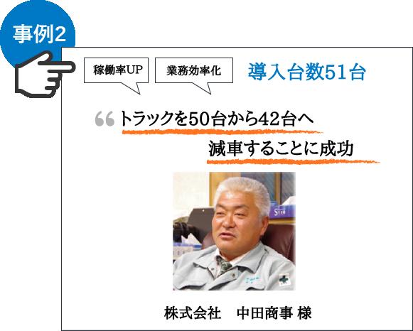 """【株式会社 中田商事様】""""50台から42台へ減車することに成功"""""""